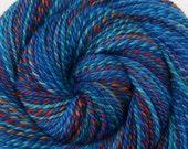 2-Skein Set, Handspun Yarn - TROPICAL FISH - Handpainted Polwarth/Tussah silk, Worsted weight, 425 yards, gift for weaver, multicolored yarn