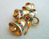 On Sale Vintage Christmas Brooch Costume Jewelry Gold Bells Pearl Beads Red Green Holly