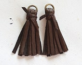 Brown Mini Tassels Deerskin Leather With Knot & Brass Jump Ring -50mm- 2 Pieces