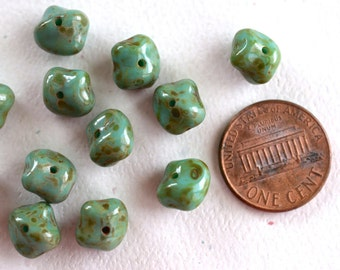 Opaque Green Turquoise Nugget Picasso Czech Glass Bead -6X8mm- 12 Pieces - (NS05)
