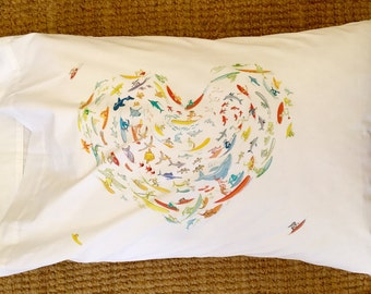 Surf Heart Pillowcase by Surf and Mirth for Ditch Ink