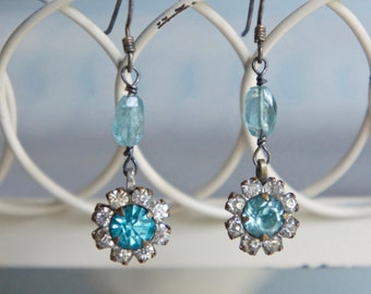 Assemblage earrings rhinestone flowers aqua blue earrings aqua gemstones teal blue assemblage jewelry F441-by French Feather Designs.