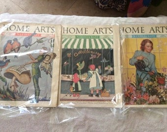 Vintage Home Arts Magazines - Needlecraft - 1930s - Sewing - Beautiful Graphics - Illustrations - Home Decor - Knit Patterns - Home Living