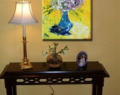 Bouquet Flowers ORIGINAL Painting Fine Art Wall Impasto heavy texture Pallet knife oil Pretty Great Colors blue Hand Painted Gift by IraSher