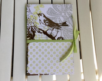 Memo Pad Folder with pocket and memo pad, ribbon closure, 5X8 standard size memo pad, for note taking, desk, phone desk, in silver and green