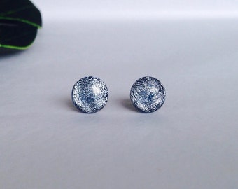 Silver Dichroic stud earrings, on sterling silver - Fused Dichroic glass earrings