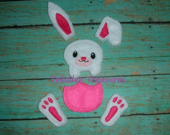 Bunny #1 Oversized Feltie  - Easter Felt - Great for Hair Bows or Crafts - Rabbit Head Ears Feet Half Egg
