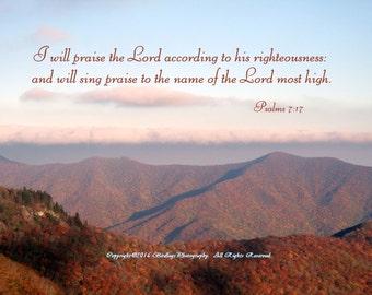 Psalm 7:17 - Blue Ridge Mountains of North Carolina