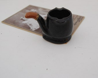 Pipe Ashtray, Vintage Ceramic Pipe, Man Cave Decor, Mens Gift