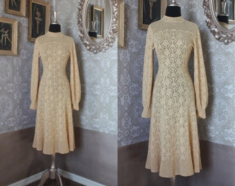 Vintage 1970's Tan Crochet Dress Small