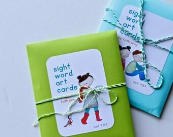 Sight Word Art Flashcards, Sets A + B, kindergarten, preschool graduation, teacher gift