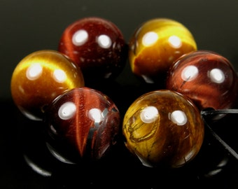 Red and Golden Tiger Eye  Large Round Bead - 14mm - 6 beads - B5805