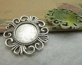 10 pcs 16mm  Silver White Color Cameo Cabochon Base Setting Tray Blanks Pendants Charm Pendant C6824