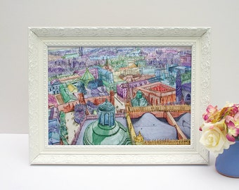 Colourful Seville illustrated drawing, cityscape, A4 print unframed
