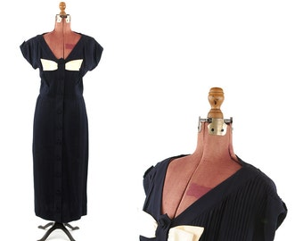 Vintage 40s Navy Blue Crepe Knit Pleated Full Button Down Bow Tie Art Deco Cocktail Dress L