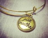 Gold Expandable Bangle Bracelet Just Breathe - Charm Bracelet - Add a Swarovski Birthstone - Gold Charm Bracelet
