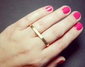 Gold Double Ring - Golden Brass Two Finger Ring - Adjustable - Double Ring - Dual Ring - Gold Two Finger Ring - Brass Double Ring