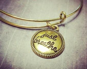 Just Breathe, Gold Expandable Bangle Bracelet Just Breathe - Charm Bracelet - Add a Swarovski Birthstone - Gold Charm Bracelet