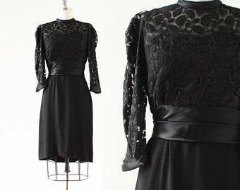 Silk and Rayon Leaves Dress / Rayon 1940s Dress / Black Embroidered Dress / Rayon Dress / Long Sleeve Dress / Medium  29 Waist 30 Waist 28