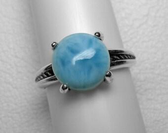 Larimar Ring in Silver, 10 mm
