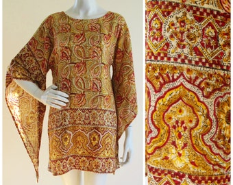 Wizard Sleeve Indian Linen 60s/70s Mini Dress