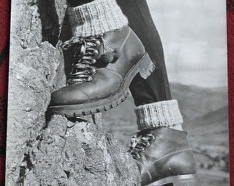 vintage black and white hiking photograph