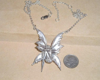 Vintage Sterling Silver Starring Nymph Brownie Sprite Fairy Necklace 1980's Signed Jewelry 106