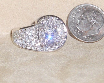 Vintage Sterling Silver Ring With  Crystal Rhinestones 1980's Rhodium Plated Size 6 1Signed Jewelry 2228