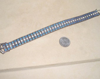Vintage Signed Payco Pat- 3-15-26 Sterling Silver Art Deco Era Bracelet With Blue And Clear Rhinestones 1920's Jewelry 37
