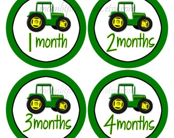Monthly Baby Stickers, Tractor Stickers, Milestone Stickers Boy, Month Stickers, Baby Month Stickers Tractor Photo Props, Green, Yellow #627