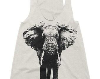 Women's Racerback Tank - Elephant - Womens Athletic Workout Tank - Running Tank - Elephants Gift Tank Top Gift Ideas For Her Girlfriend