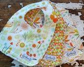 SALE  Bibs Baby Girl x3 - Helen's Garden Cream, Mango Gem & Dragonflies - Set of 3 - Pink, Orange, Yellow and Green