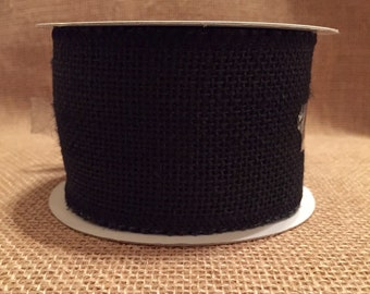 "Black Burlap Ribbon 2.5"" x 15ft"