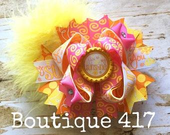 """5"""" You are My Sunshine Bottlecap Glitter Marabou OTT hair bow US Designer"""