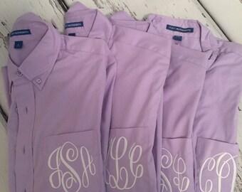 Personalized Lavender Mens Shirts, Bridesmaids Gifts Oversized Mens Shirts, Monogrammed Oversized Shirts, Monogrammed Bridal Party Shirts