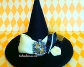 Badger Wizarding House Crest Mini Witch Or Wizard Hat In Yellow and Black - Original Design by Hat and Mouse