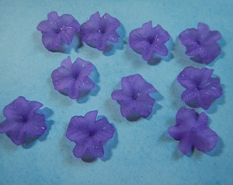 10 Pc Flower Beads Charms Violet Frosted Acrylic Dimensional Focal Jewelry