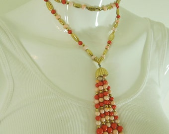 1970s Monet Coral Glass Long Pendant Necklace Runway Chain Strung 4+ Inch Pendant on 30 Inch Chain