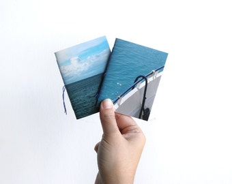Sea pocket notebooks, mini notebooks, notebook set, journal notebook, mini journal, small notebook, blank notebook, photograph cover, summer