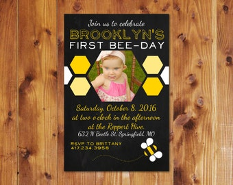 Bee-Day Birthday Party Invite-Bee Theme-Personalize-Customizable-Digital File
