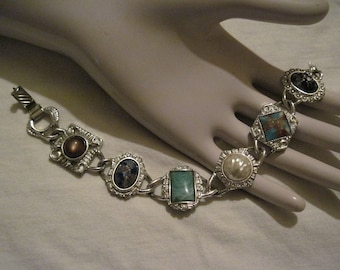 "Vintage Sarah Coventry ""Happy Holiday"" Bracelet  Faux Pearl and Gemstones Designer Signed"
