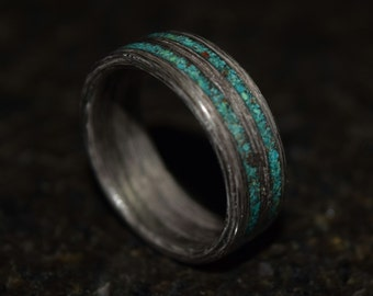 Hand Made (Bentwood Method) Gray Maple with Crysicola Double Inlay Wooden Ring