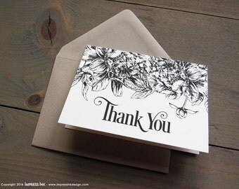 Etched Botanicals Floral Thank You Cards with Rustic Kraft Envelopes