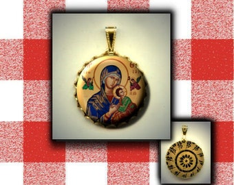 Our Lady of Perpetual Help hand pressed flat button CABOCHON in Brass Charm / Pendant