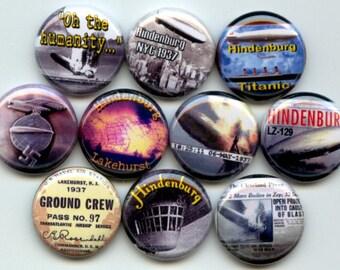 "HINDENBERG Disaster German passenger Airship Zeppelin 10 Pinback 1"" Buttons Badges Pins"