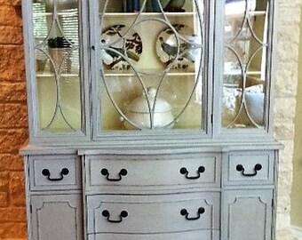 Custom Painted Vintage Secretary/China Cabinet