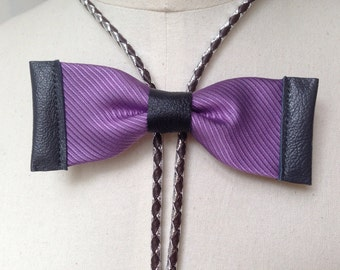 Purple silk bow tie with black and grey leather, silver/dark brown bolo cords (B17)