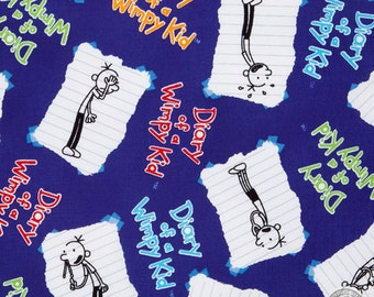 149100215 - Diary of a Wimpy Kid Blue Cotton Fabric by the Yard
