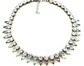 Luxury Swarovski Navette Rhinestone Necklace pastel tones - Pastel SPRING BLISS II