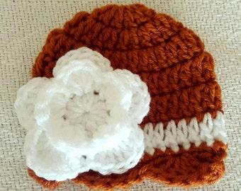 Baby Girl Burnt Orange and White Crochet Scalloped Double Flower Hat / Beanie, University of Texas, UT, Longhorn